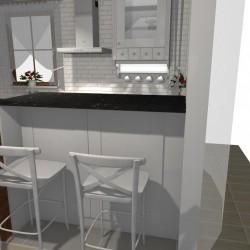Biała kuchnia styl prowansalski , bar