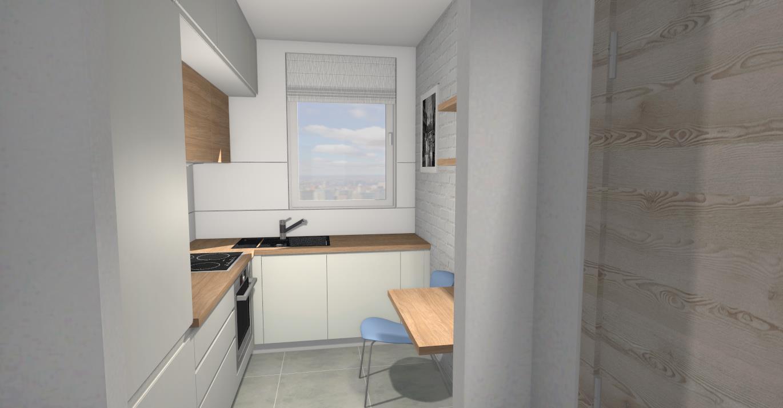 Biała Kuchnia Drewniany Blat M Studio Meble Na Wymiar