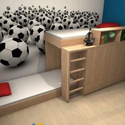 Pokój chłopców, łózko piętrowe z szafą,  projekt koslicka.art.pl