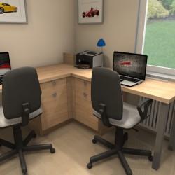 Pokój chłopców, biurko narożne