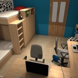 Pokój chłopców, łóżko piętrowe, projekt koslicka.art.pl