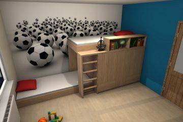 łóżko piętrowe M-Studio, projektowanie wnętrz, projektowanie mebli Starogard Tczew Malbork Gdańsk Trójmiasto, pokój młodzieżowy