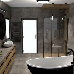 łazienka czarny mat drewno beton